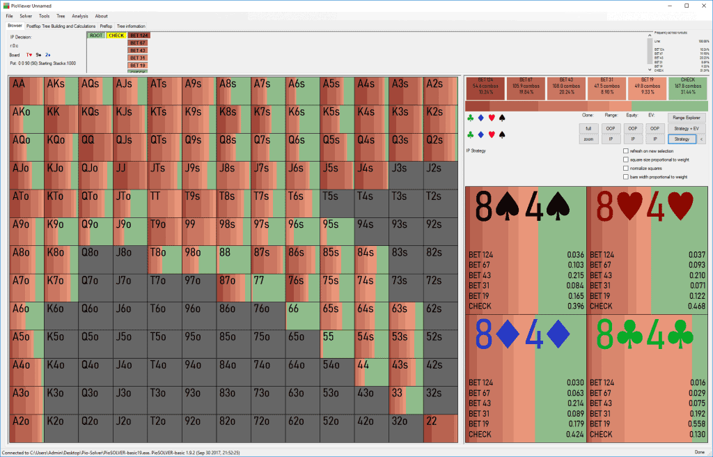 GTO c-betting range on Th-9s-2d flop